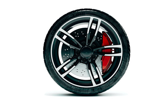 3d car tire and allow wheel on white background