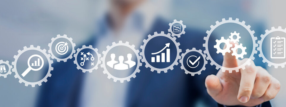 Operations management involving business process and workflow, problem solving, high performance, monitoring and evaluation, quality control. Concept with manager touching gears and icons.