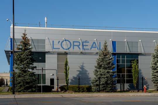 Montreal, QC, Canada - September 4, 2021: L'Oréal Canada head office in Montreal, QC, Canada. L'Oréal S.A. is a French personal care company.