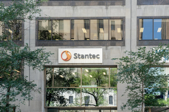 Montreal, QC, Canada - September 4, 2021: Stantec office in Montreal, QC, Canada. Stantec Inc. is a Canadian professional services company providing    design and consulting services.