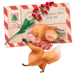 Fototapeta premium Cute little fox with a letter for Santa Claus with a Christmas berries and scarf