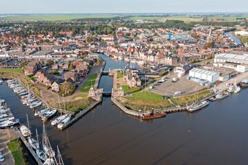 Obraz Aerial from the historical city Lemmer in Friesland the Netherlands - fototapety do salonu