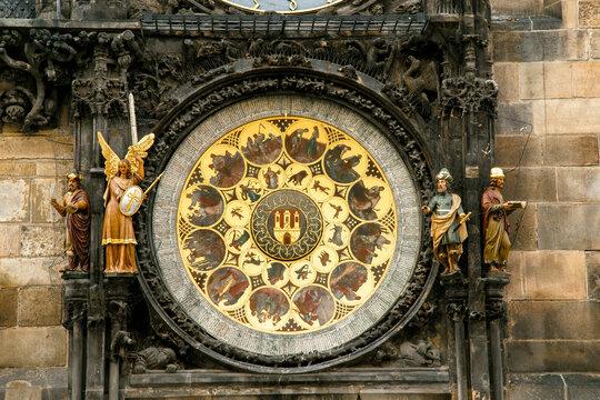 Close-up of Prague astronomical clock.