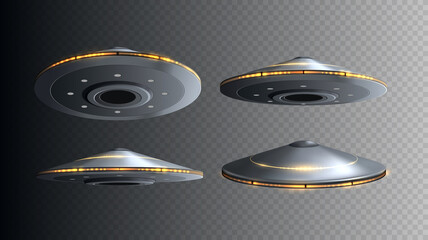 Fototapeta UFO spaceship with lights isolated. Set of vector flying 3d alien space ships. obraz