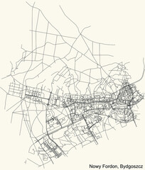 Fototapeta Detailed navigation urban street roads map on vintage beige background of the quarter Nowy Fordon district of the Polish regional capital city of Bydgoszcz, Poland obraz