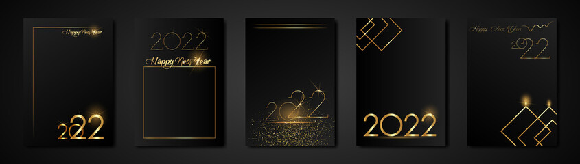Fototapeta set cards 2022 Happy New Year gold texture, golden luxury black modern background, elements for calendar and greetings card or Christmas themed winter holiday invitations with geometric decorations obraz