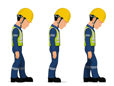 Set of workers are looking down on white background