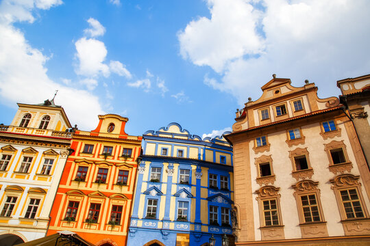 Colorful house facades at market square in Prague, Czech Republic. Gothic architecture in old European cities. Urban landmarks and popular travel destinations.