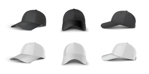 Fototapeta Black and white baseball cap side perspective, side, front view realistic vector template set. obraz