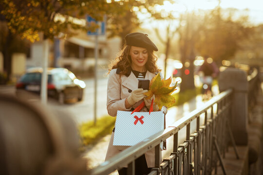 woman with shopping bags and leaves using phone applications
