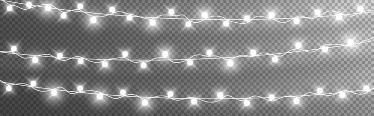 Fototapeta Christmas lights string. Silver garlands on transparent background. Luminous light bulbs for poster. Realistic glowing elements for greeting card. Vector illustration obraz