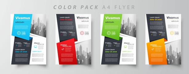 Fototapeta Flyer brochure design template set color, creative leaflet size A4, trend cover obraz