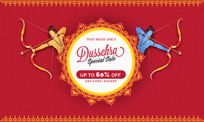 Fototapeta UP TO 60% Off For Dussehra Sale Banner Design With Lord Rama And His Little Brother Lakshman Character. obraz