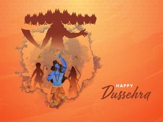 Fototapeta Happy Dussehra Concept With Lord Rama Attacking To Silhouette Ravana On Orange Grunge And Jay Shri Rama Hindi Text Pattern Background. obraz