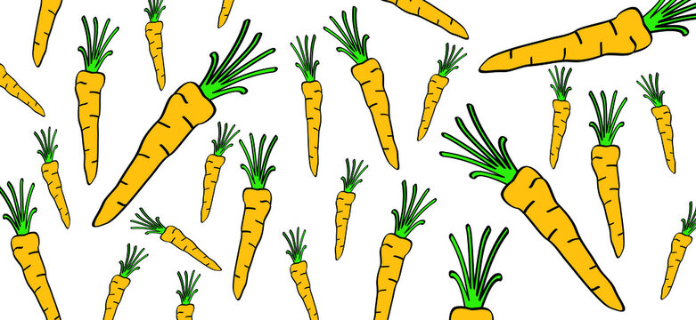 Orange carrot silhouette banner background. Fresh Carrots with halm and leaves. Cartoon drawing vegetable food, vegetarian seamless pattern. Carrot icon or pictogram.