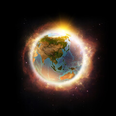 Fototapeta Global warming, climate change, worldwide disaster on Planet Earth. 3D illustration - Elements of this image furnished by NASA. obraz