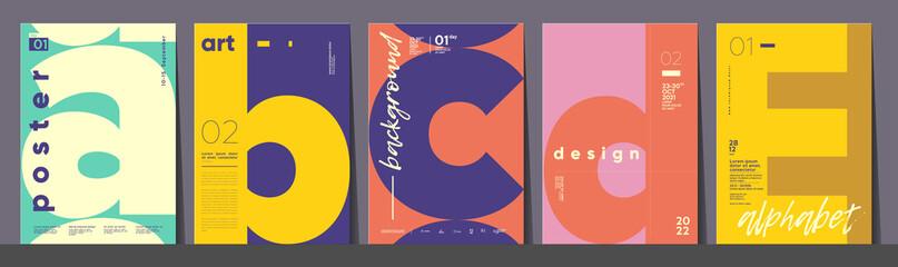 Fototapeta Poster layout design. Letters A,B,C,D,E. Alphabet. Template poster, banner, magazine mockup. obraz