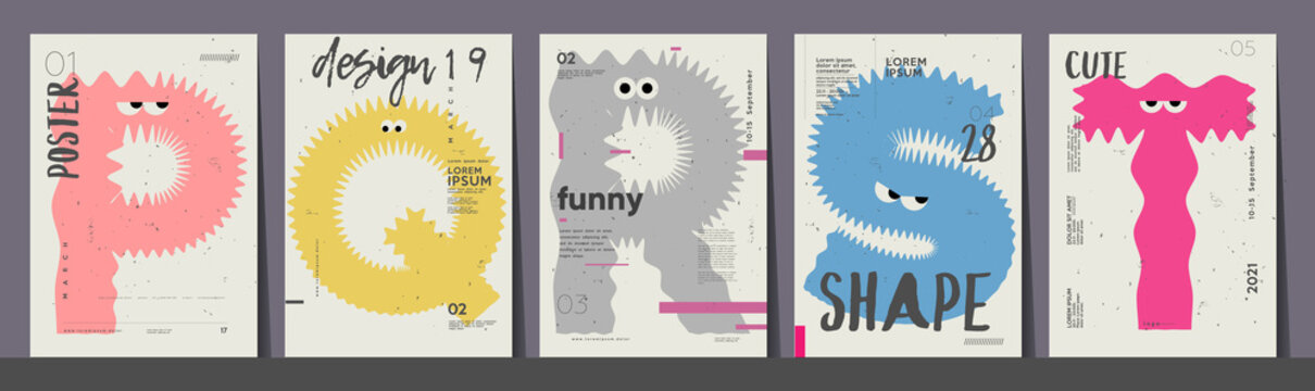 Poster layout design. Letters P,Q,R,S,T. Alphabet. Cute monsters. Template poster, banner, flyer.