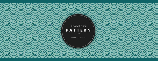 Fototapeta Traditional Chinese texture. Japanese seamless wave pattern. Oriental New Year background. Flat vector illustration. obraz