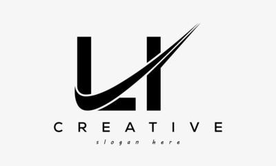 Obraz Creative LI Letter Logo Design with Swoosh Icon Vector Illustration - fototapety do salonu