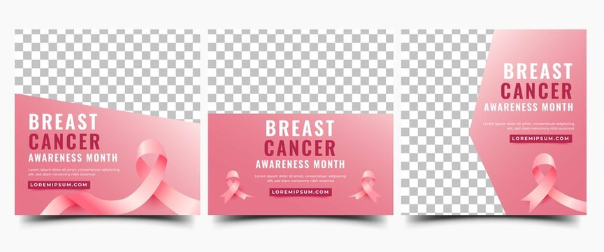 Set of Breast cancer awareness month social media post template. Modern gradient pink background with ribbon and place for the photo. Usable for social media, banner, card, and website.