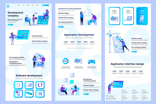 Development company flat landing page. Software engineering, application development corporate website design. Web banner template with header, middle content, footer. Vector illustration with people.