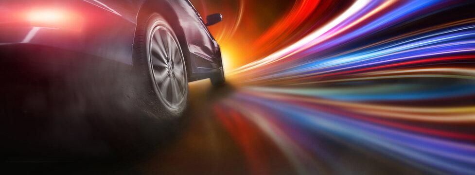 Sport car wheel drifting on lighting