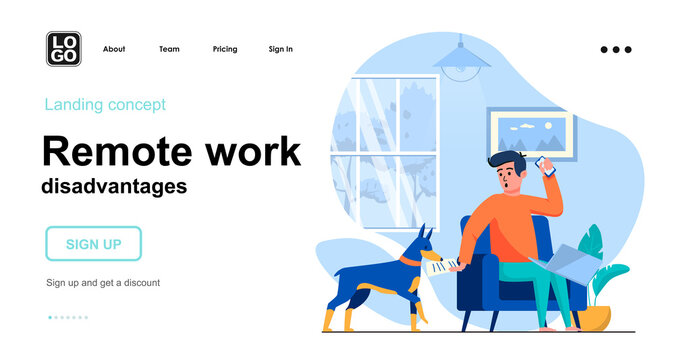 Remote work disadvantages web concept. Freelancer working on laptop, dog interferes and distracts. Template of people scene. Vector illustration with character activities in flat design for website