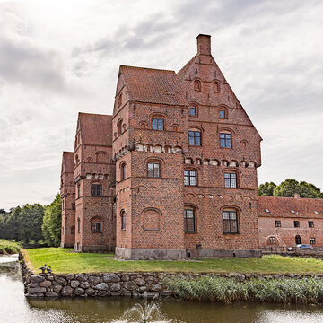 the famous fairytale castle Borreby surrounded by a moat