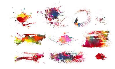 Fototapeta Set of multi-colored blots of paint. Multi color blots background. Grunge texture stroke line. Art ink dirty design. Paintbrush element. Brushstroke graphic. Vector illustration obraz