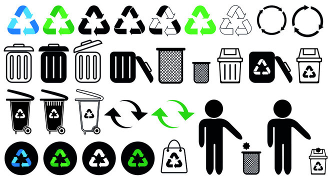 recycling icon set, recycle vector illustration, trash icon, recycling logo, eco bag, bin, trash cart, trash can, packaging signs, organic waste, plastic, paper ball, Pollution, circle arrows, man