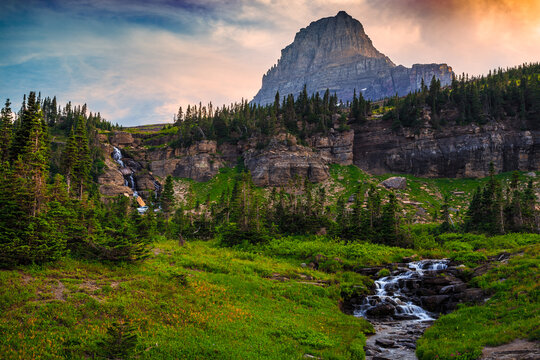 Sunset on Mt Oberlin and Falls on the Going-to-the-Sun Road, Glacier National Park, Montana