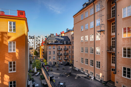 View of typical building in Sodermalm, sunny day
