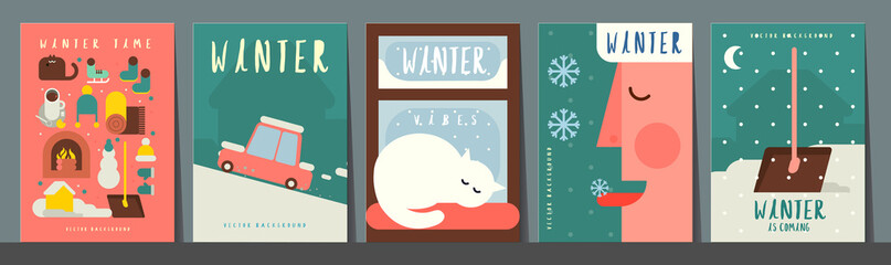 Obraz Winter time. Set of vector illustrations. Simple backgrounds. Funny pictures about winter vibe. Collection of banners. - fototapety do salonu