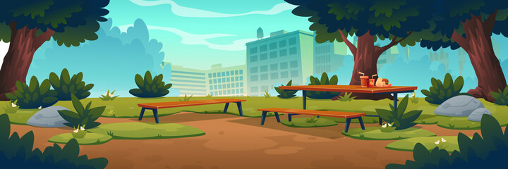 Obraz City park with wooden picnic table and benches, green trees, grass with flowers and town buildings on skyline. Vector cartoon summer landscape of empty public garden with food and drink on table - fototapety do salonu