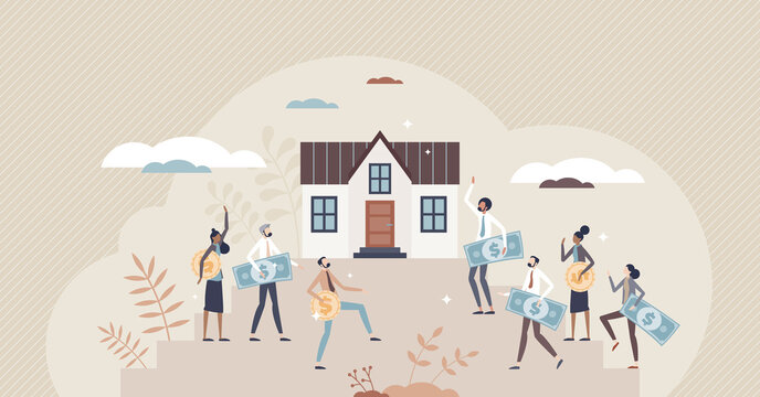 Real estate crowdfunding as collective property purchase tiny person concept. Crowd support for one house buying as part of loan investment vector illustration. Offer better financial support together