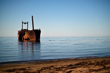 old wrecked ship stranded