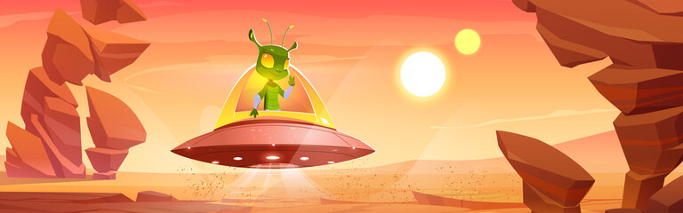 Cute martian in ufo on Mars red alien planet landscape. Extraterrestrial comer with green skin and huge eyes sit in saucer show victory gesture. Fantastic space cartoon character Vector illustration