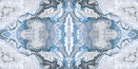 Blue marble texture and kaleidoscope design background, batik pattern