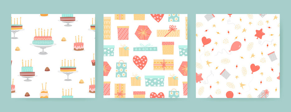 Collection of seamless birthday patterns with gift boxes, cakes, sweets and balloons isolated on white background.