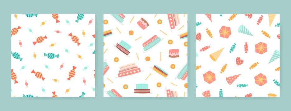 Cute set of seamless birthday patterns with cakes, cookies, sweets and hats on a white background.