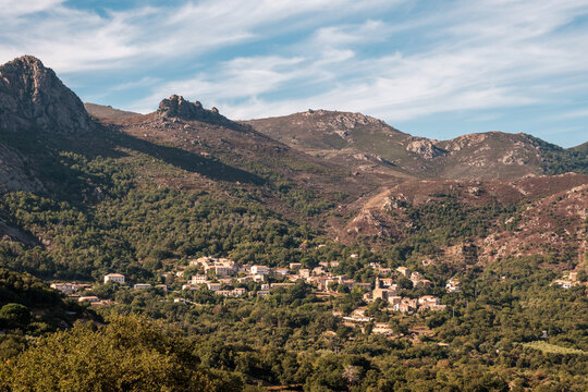 The village of Feliceto in the Balagne region of Corsica with mountains behind