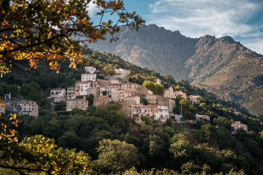 The village of Nessa in the Balagne region of Corsica with mountains behind