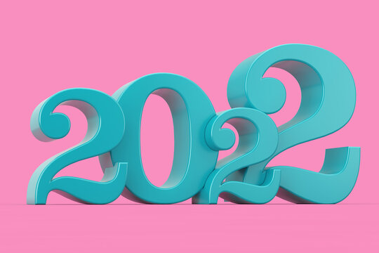 2022 New Year Blue Sign in Duotone Style in Duotone Style. 3d Rendering