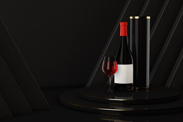 Fototapeta Bottle and Glass of Red Wine with Package over Award Podium. 3d Rendering obraz