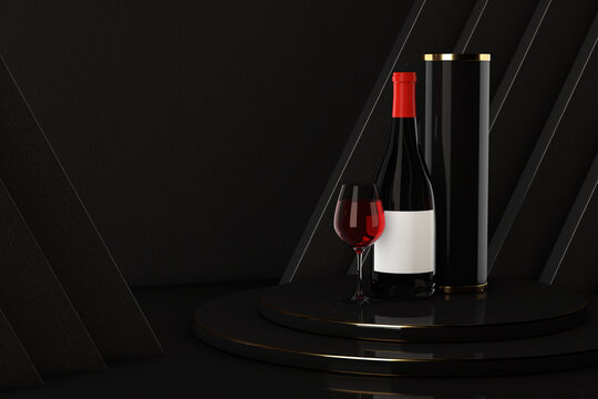 Bottle and Glass of Red Wine with Package over Award Podium. 3d Rendering