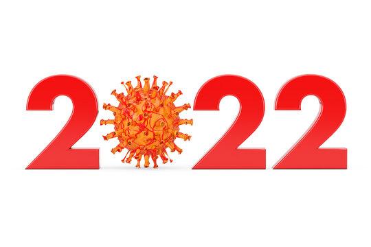 2022 Year with Zero Symbol as COVID-19 Corona Viruses Bacterias. 3d Rendering