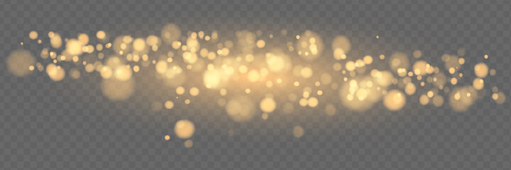 Obraz Shining bokeh isolated on transparent background. Golden bokeh lights with glowing particles isolated. Christmas concept - fototapety do salonu