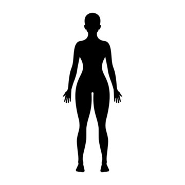 Black silhouette of a young woman. Perfect figure of a person. Pictogram female. Glyph body. Vector illustration flat design. Isolated on white background. Caucasian sportswoman.