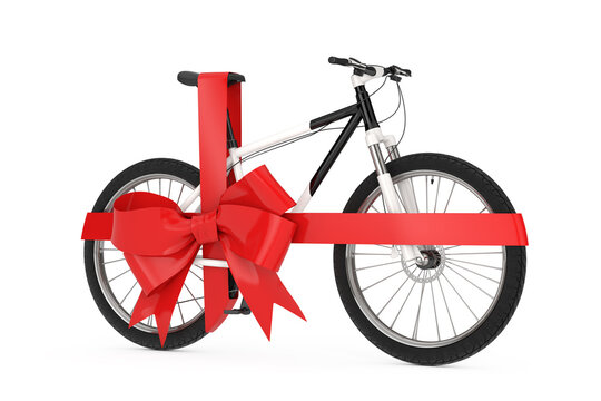 Black and White Mountain Bike with Red Ribbon as Gift. 3d Rendering